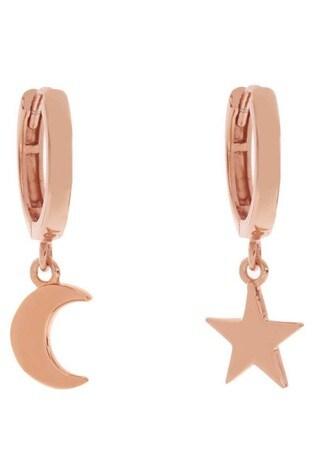 Mint Velvet Rose Gold Star Huggie Earrings