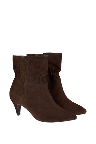 Monsoon Brown Ruched Suede Ankle Boots