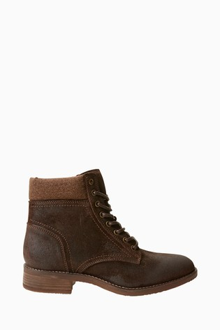 Buy FatFace Brown Lanton Lace Up Boots