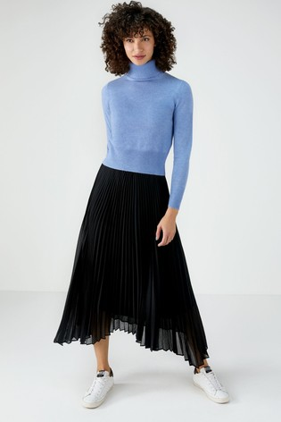 Pure Collection Black Pleated Drop Hem Skirt