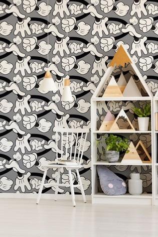 Art For The Home Grey Disney Mickey Handshake Wallpaper