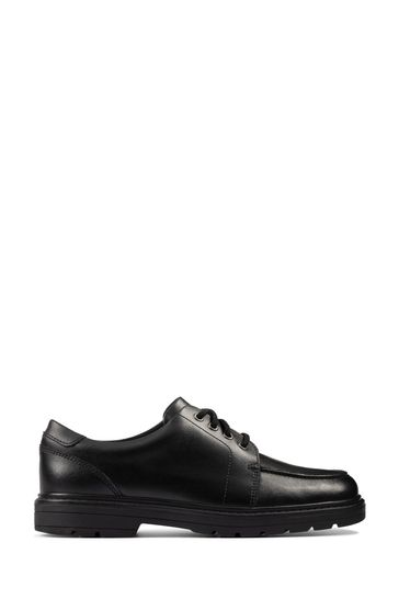 Clarks Black Leather Loxham Pace Youths Shoes