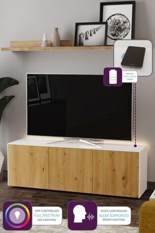 Frank Olsen Smart LED White and Oak Large TV Unit