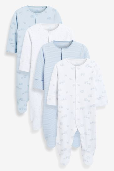 Pale Blue 4 Pack GOTS Organic Delicate Elephant Sleepsuits (0-2yrs)