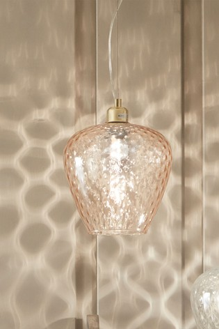 Almada Textured Blush Coloured Glass Electrified Pendant by Pacific
