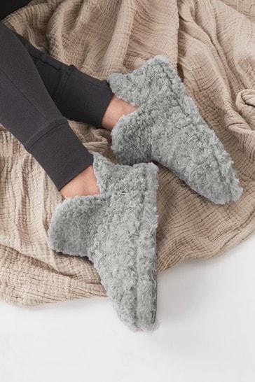 Charcoal Grey Faux Fur Slipper Boots