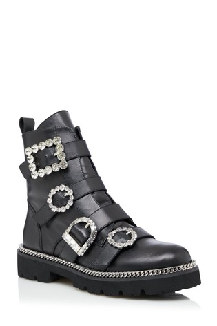 Dune London Pagola Black Embellished Ankle Boots