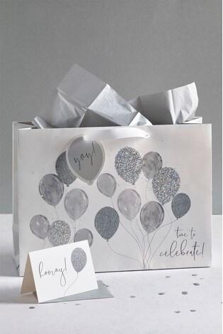 Glitter Balloon Bag Card And Tissue