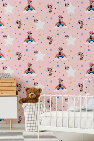 Art For The Home Pink Disney Rainbow Minnie Wallpaper