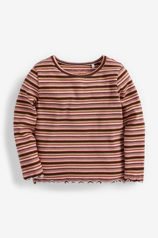Brown/Red Stripe T-Shirt Basic Rib Jersey (3mths-8yrs)