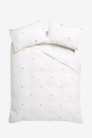 Embroidered Flowers Duvet Cover And, White Bedding With Embroidered Flowers