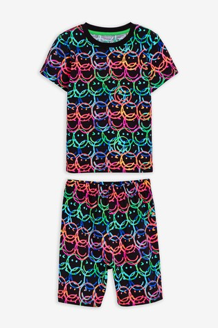 Multi Fluro Face Print Short Pyjamas (9mths-12yrs)