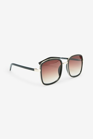 Black Large Square Metal Inlay Sunglasses