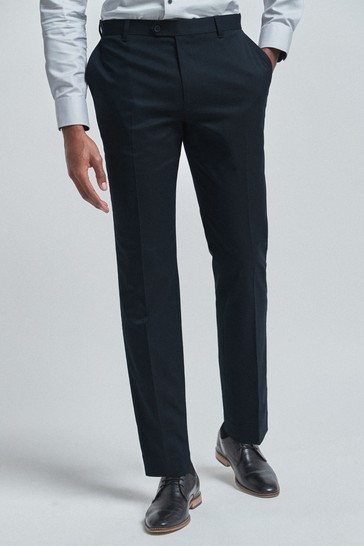 Navy Regular Fit Trousers With Stretch
