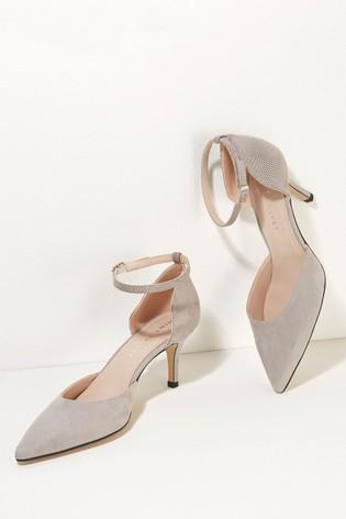 Mint Velvet Grey Imogen Suede Court Heels