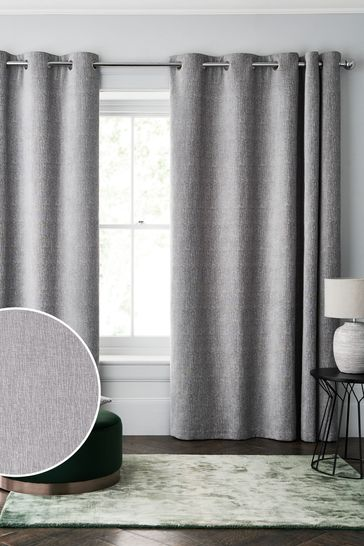Silver Grey Heavyweight Super Thermal Chenille Eyelet Curtains