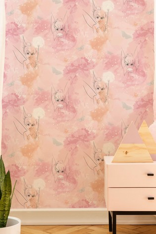 Art For The Home Pink Disney Tinkerbell Watercolour Wallpaper