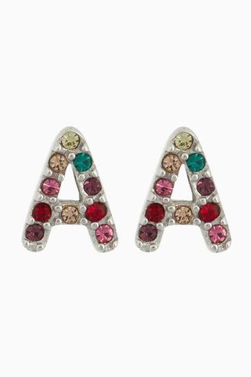 Sterling Silver Rainbow Initial Stud Earrings