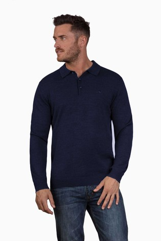 Raging Bull Blue Long Sleeve Signature Knitted Polo Shirt