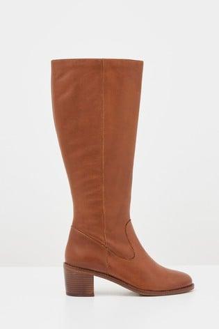 White Stuff Tan Jean Block Heel Long Boots