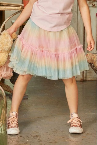 Angel's Face Pink Unicorn Rainbow Skirt
