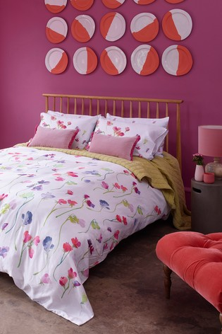 Bluebellgray Sweet Pea Floral Cotton Duvet Cover And Pillowcase Set