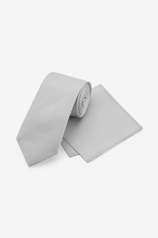 Silver Wide Silk Tie And Pocket Square Set