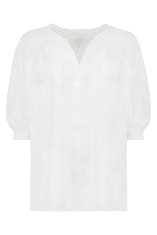 F&F White Textured Dobby Popover Shirt