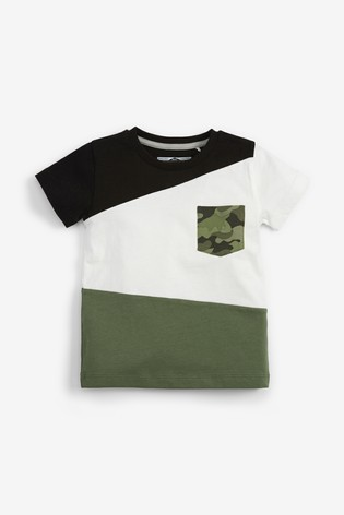 Monochrome 3 Pack Camo Colourblock T-Shirts (3mths-7yrs)