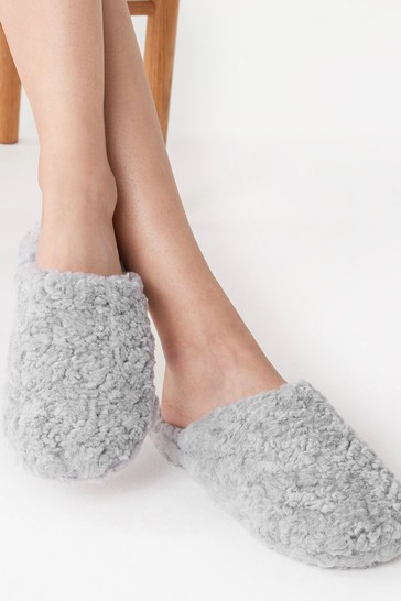 Pale Grey Recycled Faux Fur Slippers