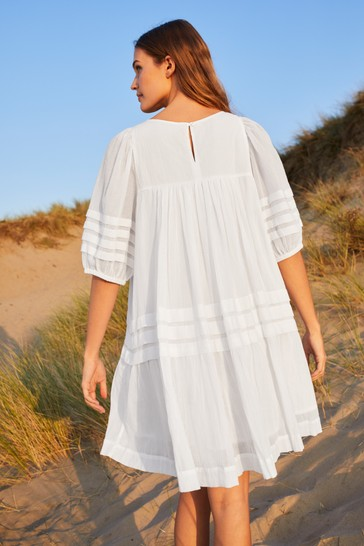 White Pintuck Dress