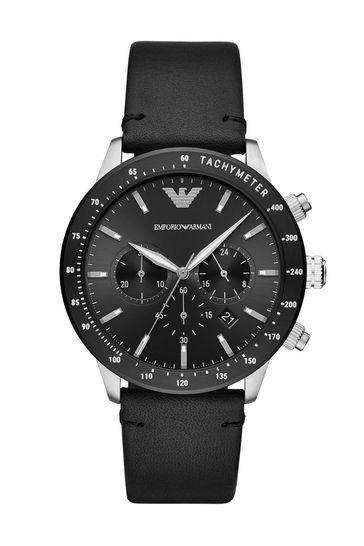 Emporio Armani Black Leather Watch
