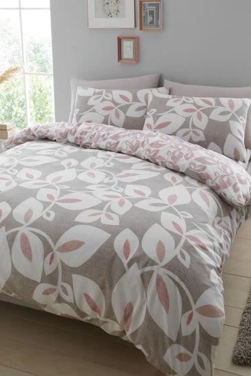 Catherine Lansfield Inga Leaf Duvet Cover and Pillowcase Set