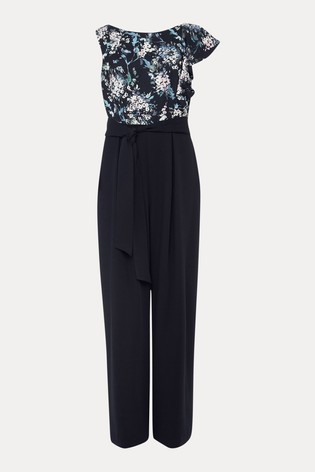 Phase Eight Blue Casey Floral Bodice Tapered Jumpsuit