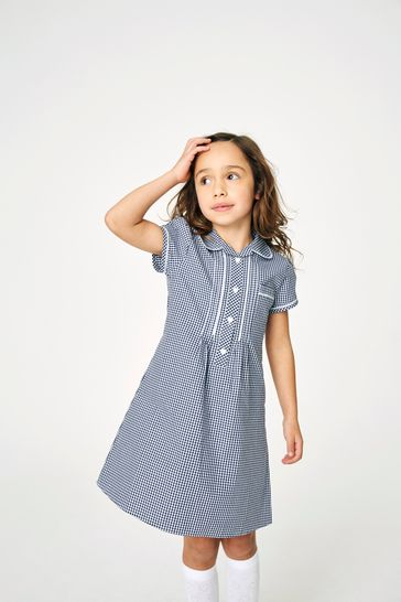Navy Button Front Lace Gingham Dress (3-16yrs)