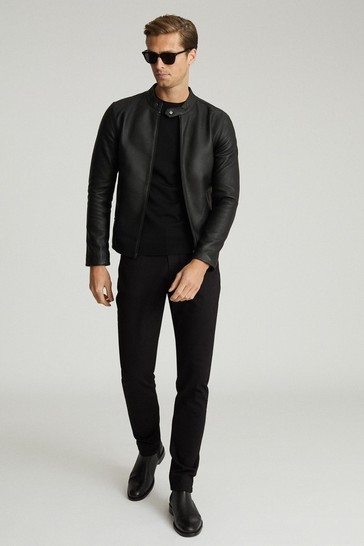 Reiss Black Keith Leather Cafe Racer Jacket