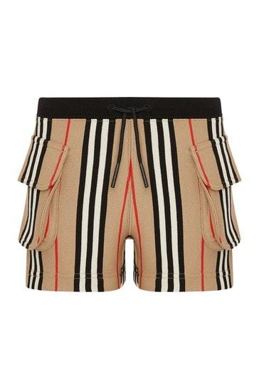 Girls Beige Cotton Shorts