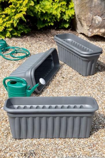 Set of 5 Wham Vista 80cm Black Plastic Troughs