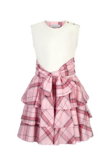 Girls Pink Circle Frill Dress
