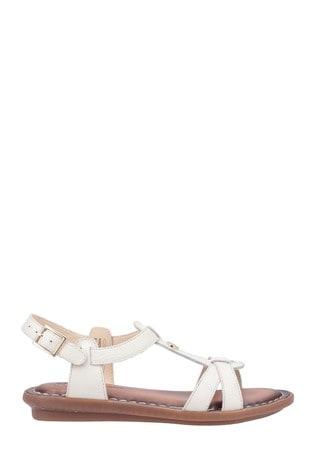 Hush Puppies Cream Olive Tstrap Buckle Strap Sandals