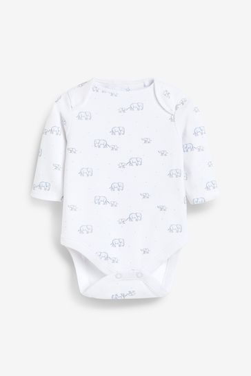 Pale Blue 4 Pack Organic Elephant Long Sleeve Bodysuits (0mths-3yrs)