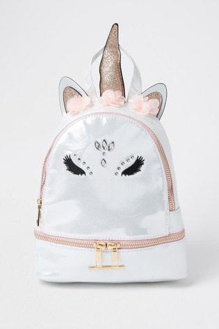 River Island White Glam Unicorn Backpack