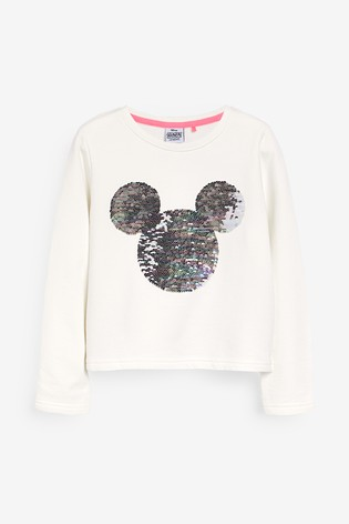 White Mickey Mouse™ License Sequin Cropped Crew Neck Sweat Top (3-16yrs)