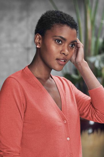 Pure Collection Orange Cashmere V-Neck Cardigan