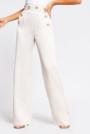 River Island Button Detail Wide Leg Trousers