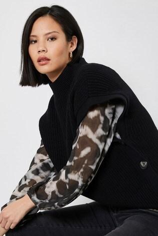 Mint Velvet Black Knitted Buttoned Tabard
