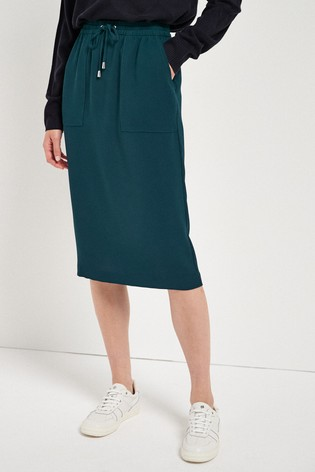 Teal Relaxed Pencil Skirt