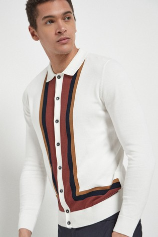 Ecru Strike Knitted Button Through Polo