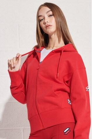 Superdry Red Sportstyle Zip Hoodie