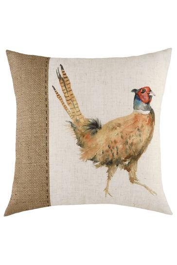 Evans Lichfield White Hand Painted Pheasant Linen Blend Cushion